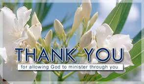 Thank You for allowing God to minister through you